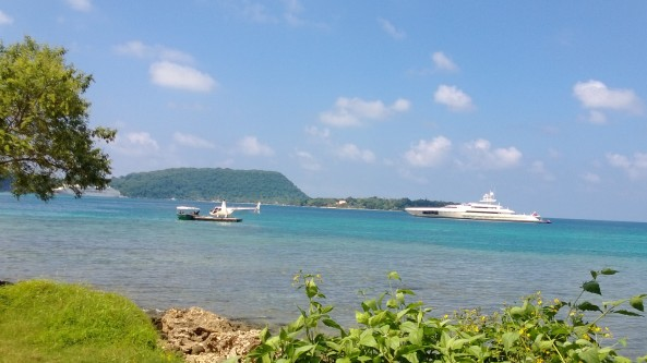 Motor Yacht Dragonfly in Port Vila Harbor